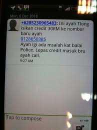 Salah satu contoh sms penipuan yang marak